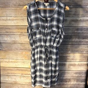 Francesca's Blue and White cinched Plaid Dress